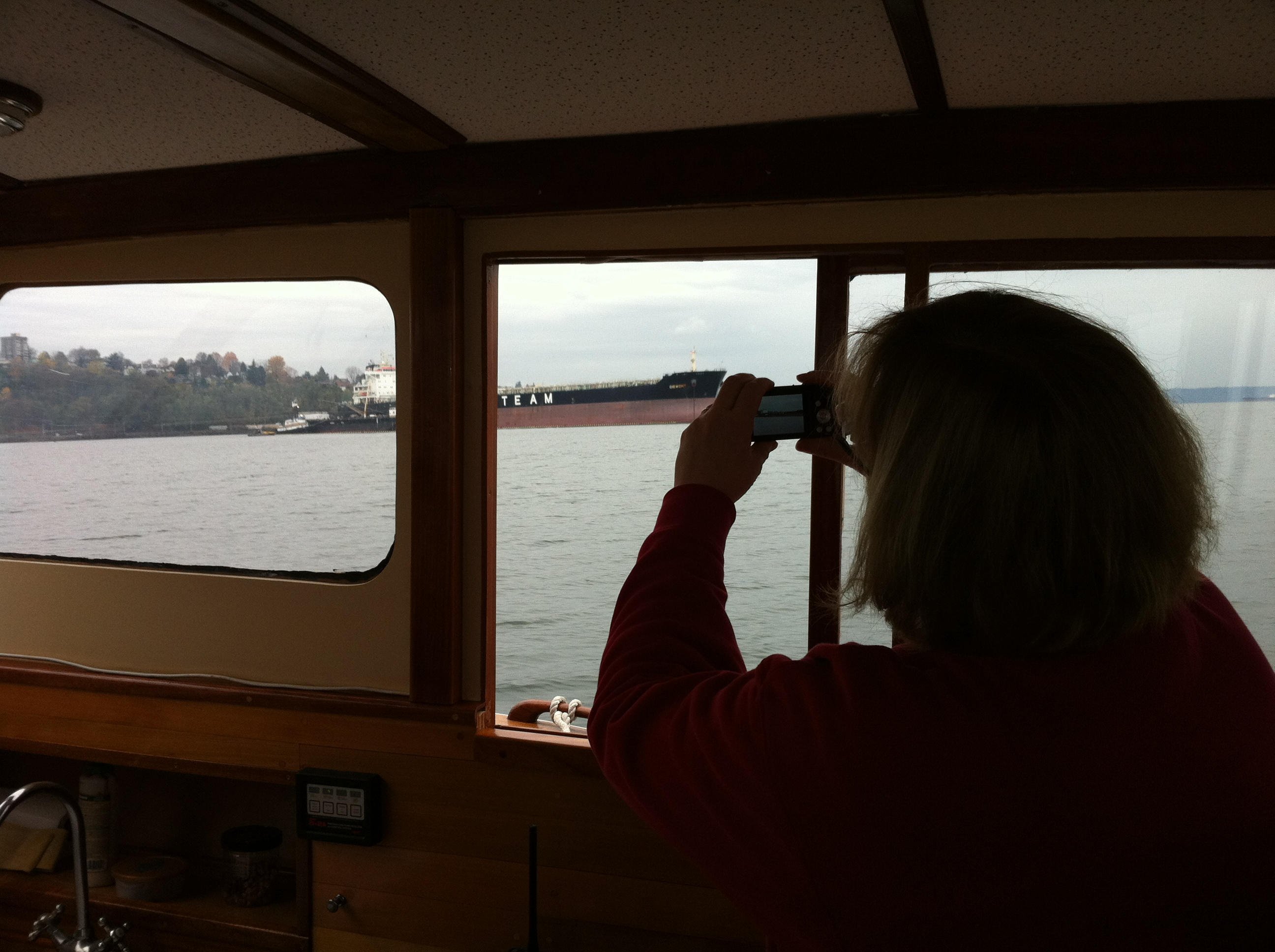 We go for a cruise on the Monk, Renee takes photos of a Polish grain freighter with her new camera