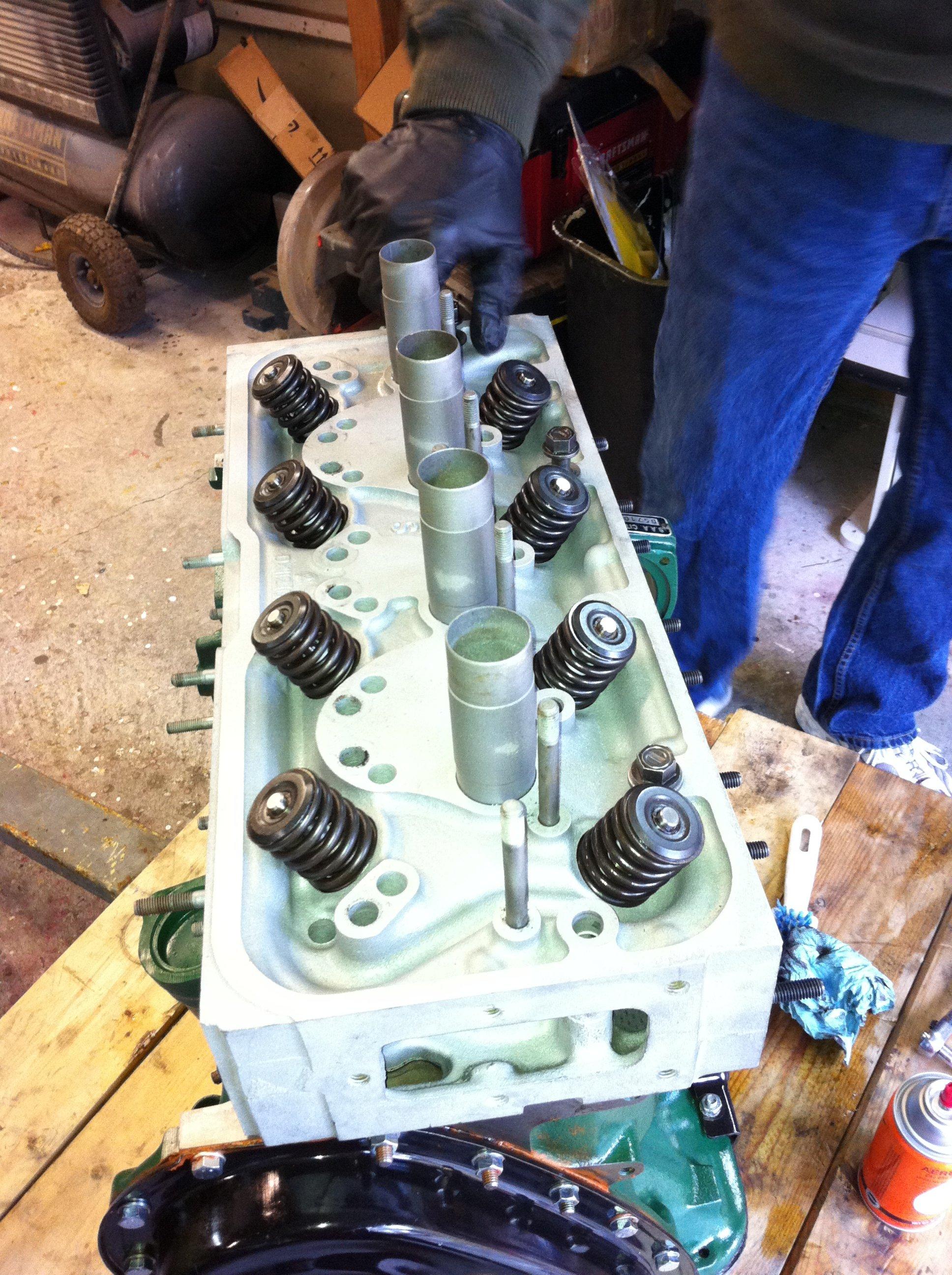 Head goes on the Citroen engine