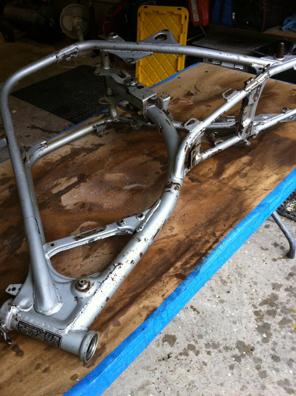 The bare frame ready for stripping