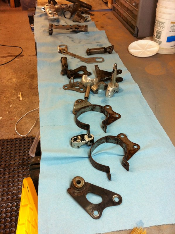 Lots of parts, cleaned and ready for rust removal