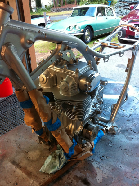 Engine in the frame with no paint nicks :-)