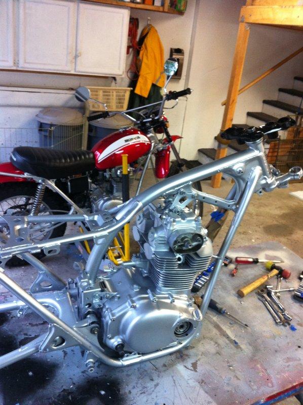 I start to assemble the blue bike