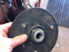 I attach it to the rubber backing plate for my Milwaukee body grinder, spinning very fast!