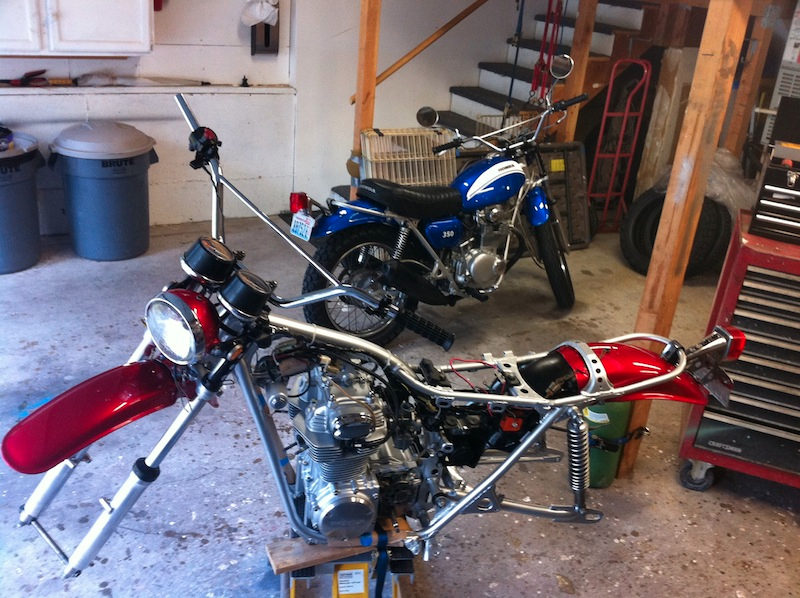 I\'ve been riding the blue bike while reassembling the red bike