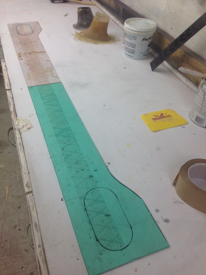 I make a mirror image of the lexan template to make a flat plate for the front of the car.