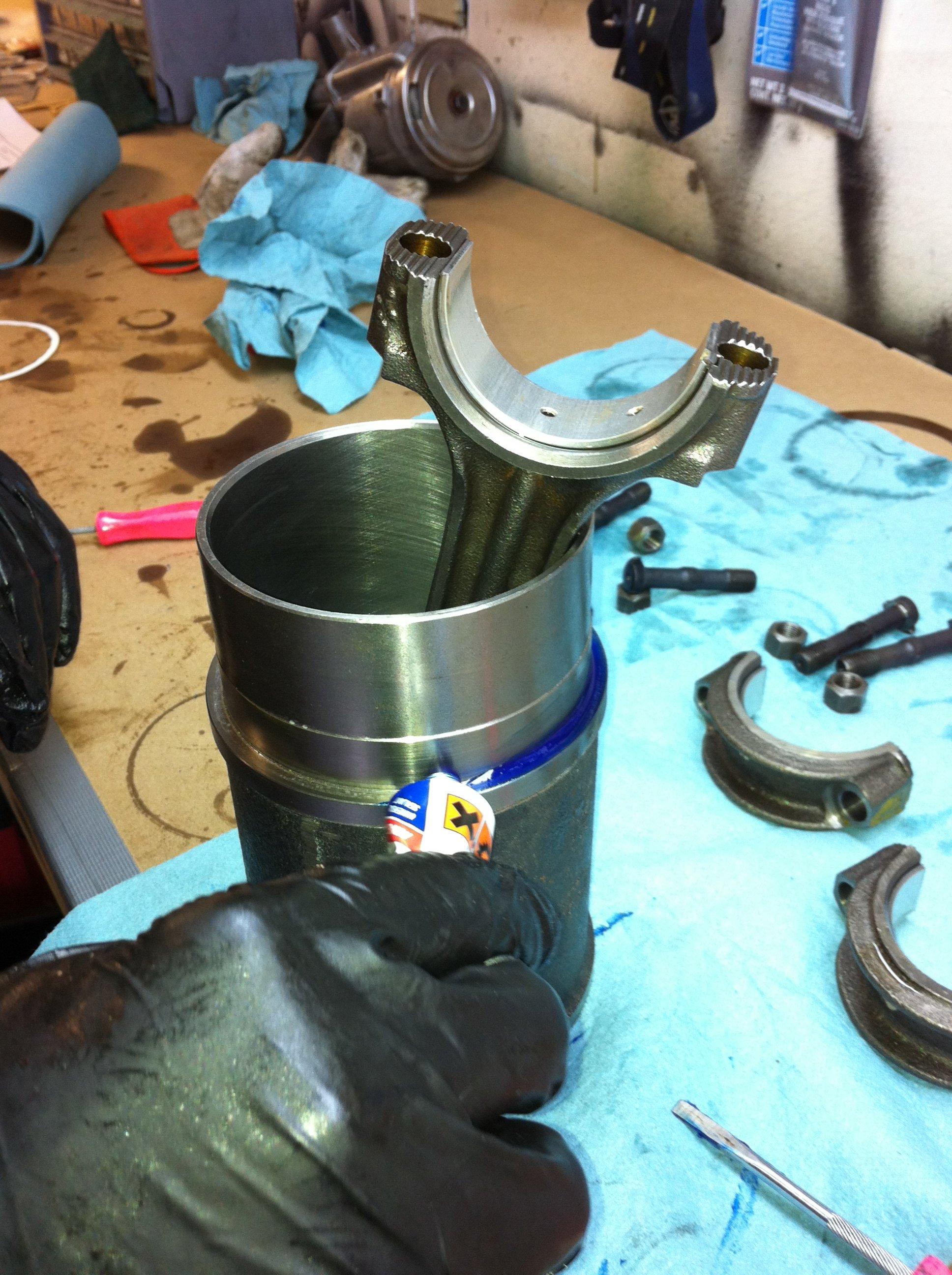 Hylomar on the liner sealing flange