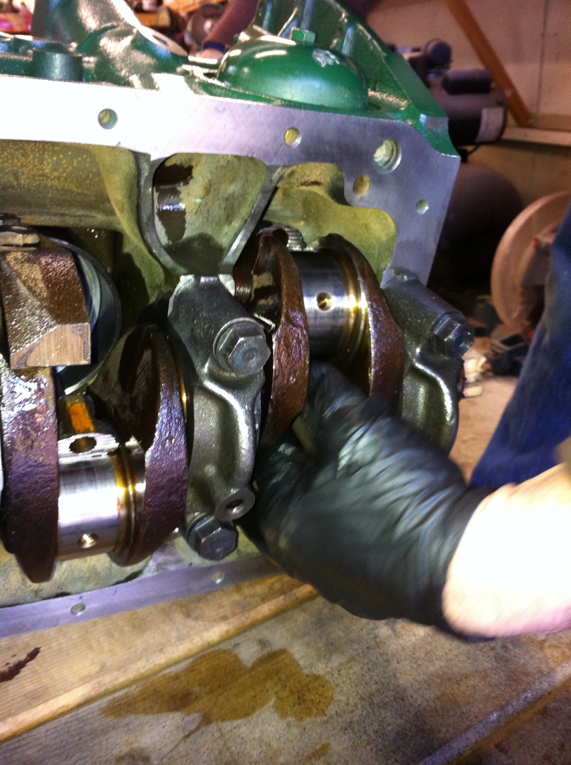 Lining up the rods with the crank journals