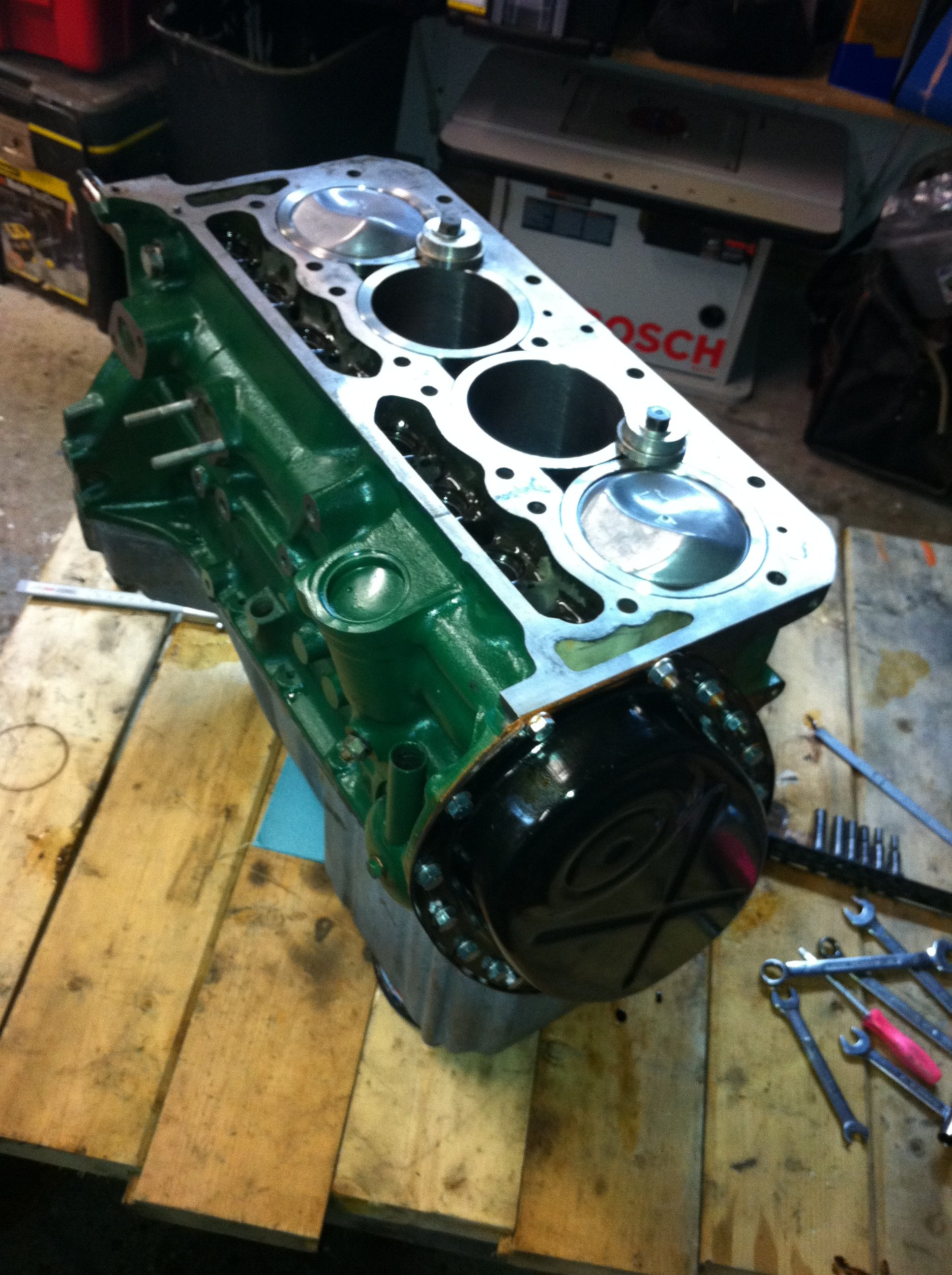 Timing cover in place - enough work for one day, time for a glass of wine