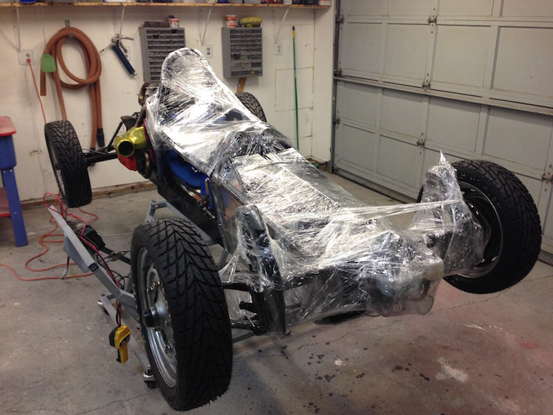 I cover the FV chassis in plastic wrap for protection against the onslaught of filler and resin in the coming days.