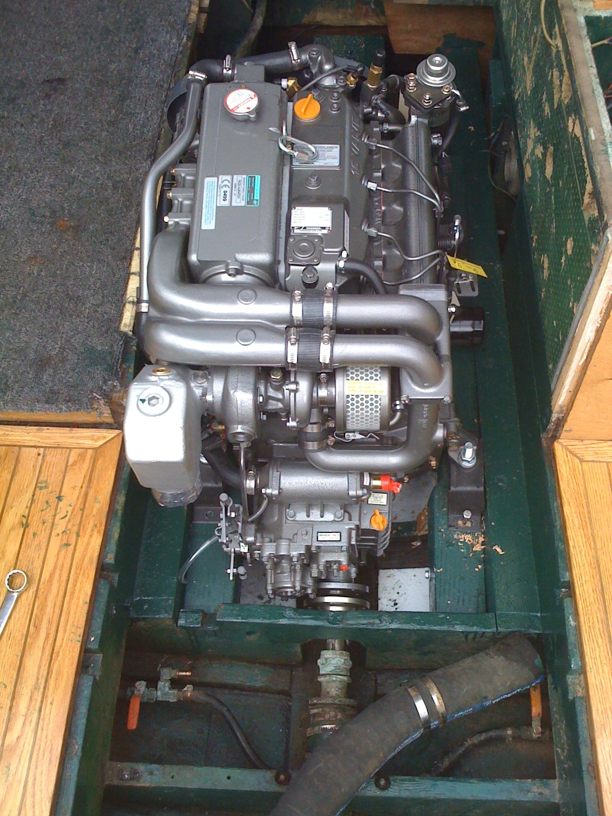 New Yanmar 110HP turbocharged 4 cylinder diesel and gear, new prop, new exhaust system. Twin 30 gal. diesel tanks with new top-feed plumbing. Dual Racor filters. 80 hours on engine since new.