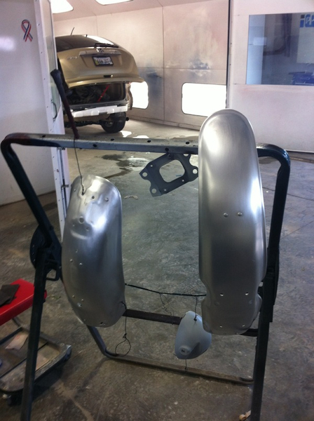 The SLK 350 parts are hanging - awaiting their turn in the paint booth - first the Honda must be finished and pulled out.