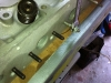 I remove the long exhaust studs and install short one to accomodate the removed smop pump air manifold