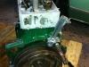 Distributor tower installed, flywheel bolts getting torqued