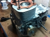 I took the red bike\'s engine apart again to install the little rubber ball in the case under the crank bearing. I had forgotten to replace that ball when assembling the engine