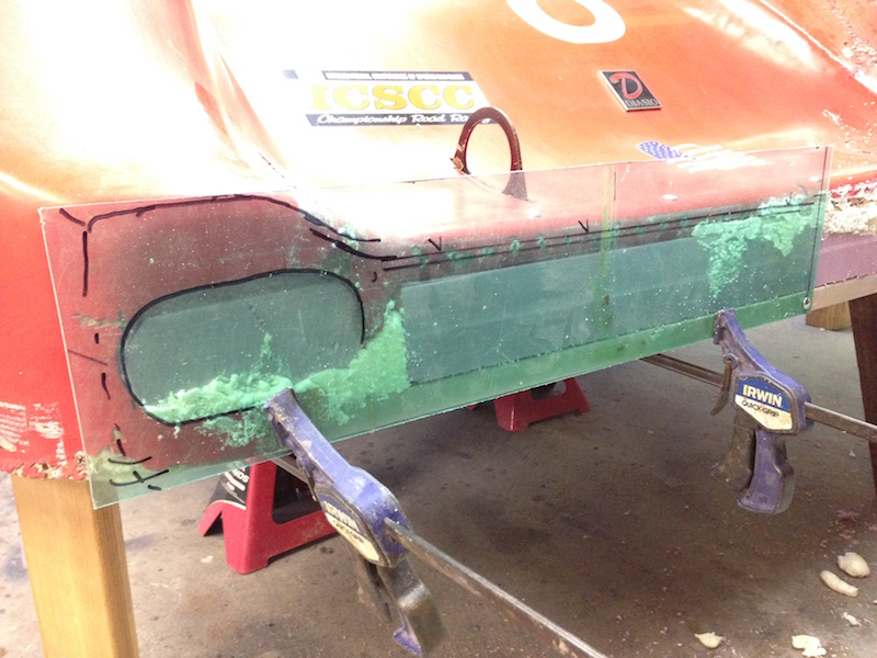 I make a template using lexan to get the profile of the nose from the good right side.