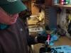 Placing the paper gasket on the liner flange