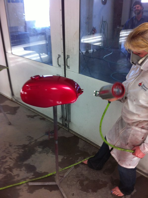 It takes a few coats to get the correct candy red color
