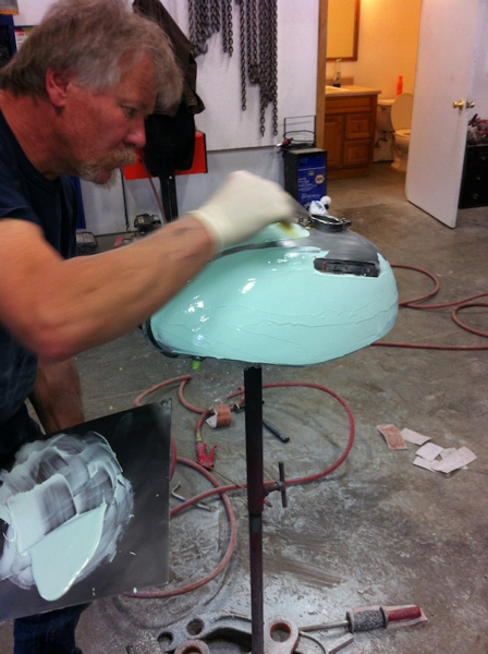 A coat of Evercoat Metal Glaze goes on for the final shaping and sanding