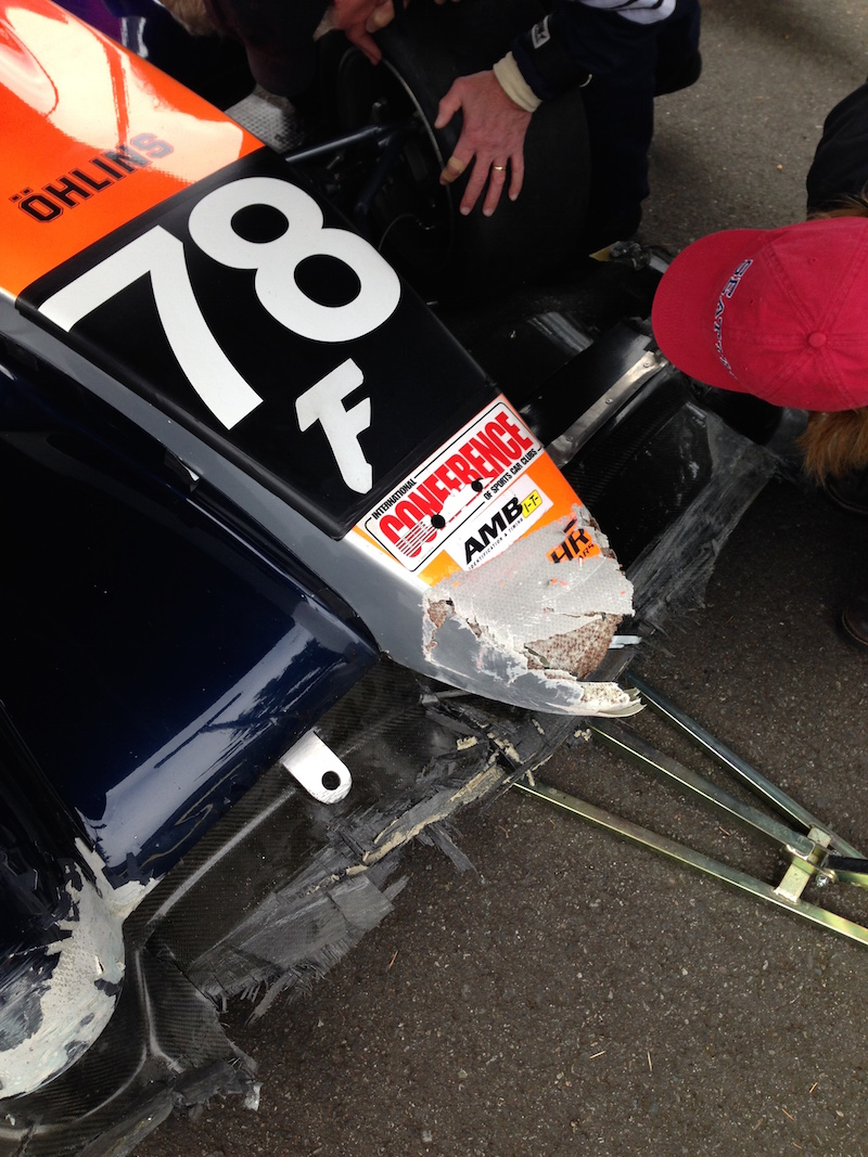 Dick Boggs got pushed into a wall at Pacific Raceways last weekend and crunched the corners of his Stohr sports racer. I'm going to repair his fenders and make new molds.